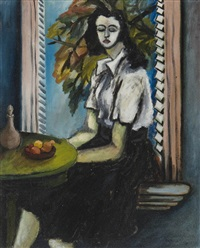 young woman at her window sill by charles daudelin