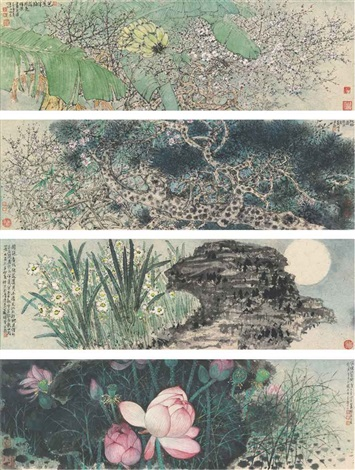 flowers set of 4 by xiao huirong