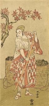 the actor nakamura nakazo i as kose no kanaoka disguised as sogoro the charcoal maker, in the drama kuni no hana ono no itsumoji and the onnagata actor segawa kikunojo iii in role (hosoban-e)(2 works) by katsukawa shunsho