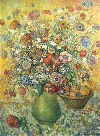 still life with flowers and fruit by meville paul simon