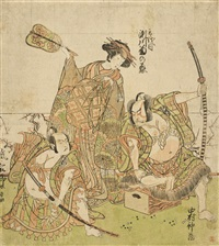 the onnagata segawa kikunojo iii with the actors nakamura nakazo i and arashi sanjoro ii in a triangular configuration (hosoban-e) by katsukawa shunsho
