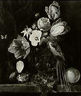 still life of flowers and a birdnest by a mossy bank by walker