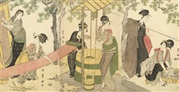 women washing and stretching lengths of cloth beside a well (oban tate-e)(triptych) by utagawa toyokuni (toyokuni i)