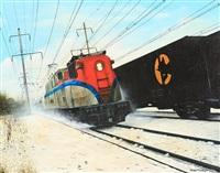amtrak train on tracks, wintertime by tony fachet