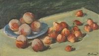 stillleben mit erdbeeren und pfirsichen by ernest bolens