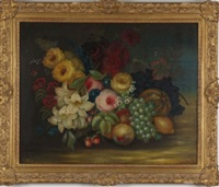 fruit and floral still life by edwin steele