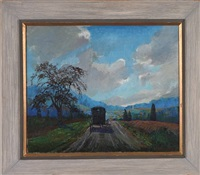 toward home, landscape with amish buggy by susan gertrude schell