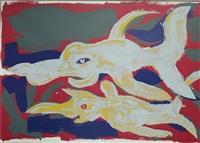 zwei delphine by rainer fetting