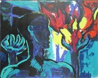 männerkopf mit bäumen im hintergrund by rainer fetting