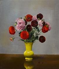 stillleben mit dahlien in gelber vase by marcus jacobi