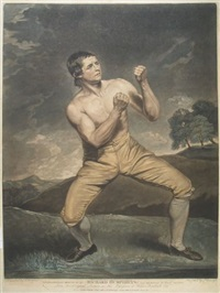 richard humphreys, the celebrated boxer who never was conquered, who beat bentley, martyn, &c &c and mendoza the jew 9th jan. 1788 (after j. hoppner) by j. young
