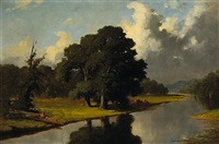 a river landscape with cattle resting under a tree by frederick s. batcheller