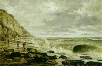a coastal scene with waves breaking and figures on the shore by jean marius rogier