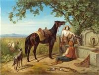 mediterrane landschaft mit bauern und tieren an einem brunnen by eugen adam