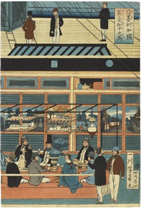 amerika-koku jokisen chu no zu (depiction of the interior of an american steamship)(oban tate-e)(triptych) by utagawa yoshikazu
