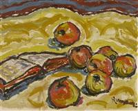 stillleben mit äpfeln und buch by ernst kempter