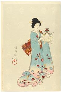 six triptych sets (from the series tokugawa jidai kifujin (high-ranking ladies in the tokugawa era)(oabn tate-e)(+ 39 others; 57 works) by toyohara chikanobu