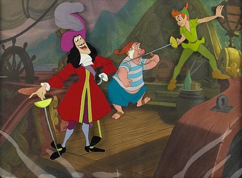 Peter Pan Challenging Captain Hook As Smee Looks On From By Walt