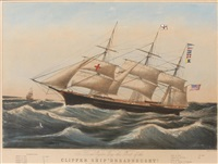clipper ship dreadnought off sandy hook (after charles r. parsons) by nathaniel currier