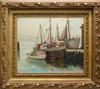 boats at dock by muriel ritchie