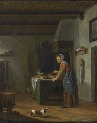 kücheninterieur mit köchin by casparis van haanen