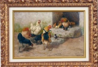chicken feeding scene (+ another; pair) by griffith ross baird