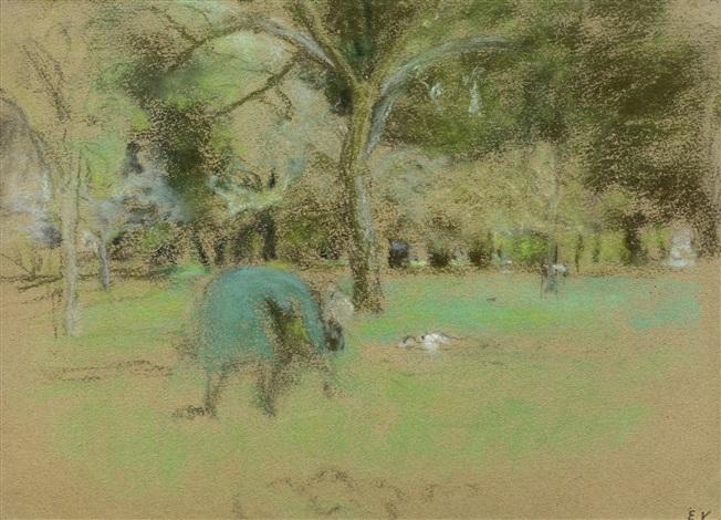 la prairie aux clayes by edouard vuillard