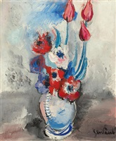 bouquet de tulipes et anémones au vase bleu by gen paul