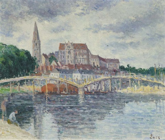 le pont sur lyonne et la cathedrale dauxerre by maximilien luce