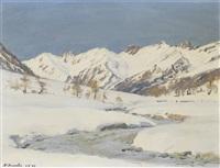 winterliche berglandschaft im lötschental by karl anneler