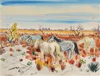 pferde in landschaft mit gelb-blauem himmel by yves brayer