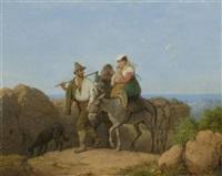 italiener und zwei frauen mit kind auf einem maulesel by peter heinrich lambert von hess