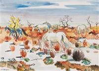 pferde in landschaft mit blauem himmel by yves brayer