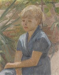porträt eines mädchens im garten by charles felix appenzeller