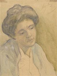 porträt einer frau mit hochgestecktem haar by wladimir g. krikhatzkij