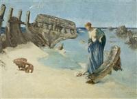 jeune fille contemplant un crâne près d'un bateau naufragé au bord de la mer - ile de bréhat by cornelius ary renan