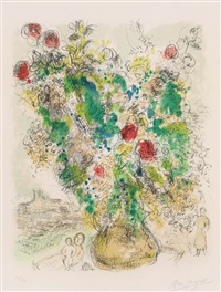 roses et mimosa by marc chagall