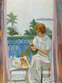 woman on balcony by william walton armstrong