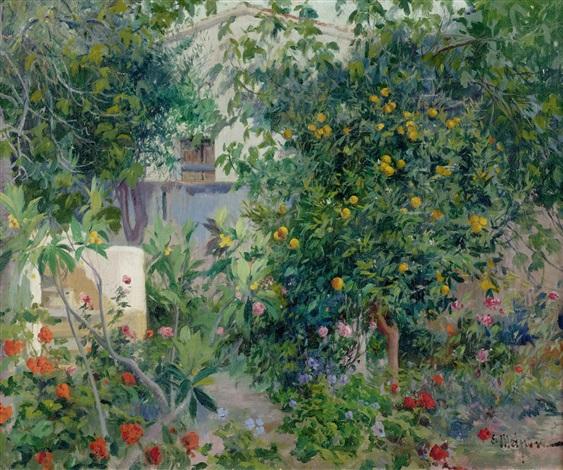 jardin con flores by eliseo meifrén y roig