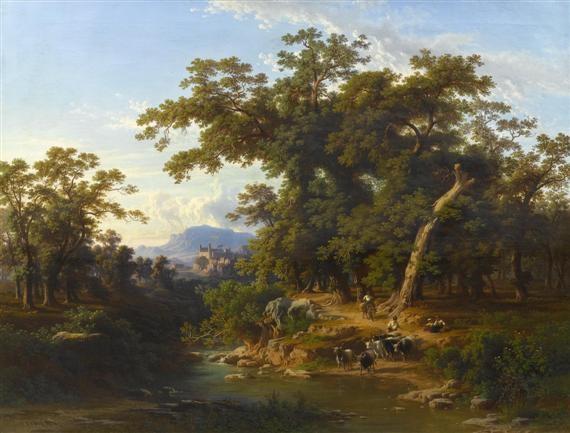 rinderhirten am fluss vor einer weiten landschaft by johann jakob frey