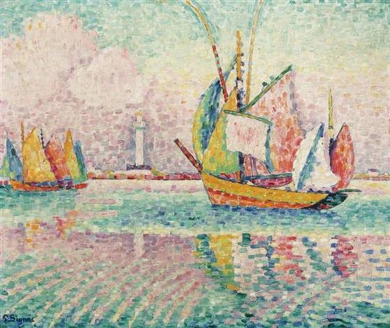 bateaux au mouillage à locmalo by paul signac