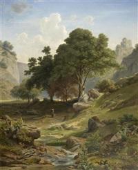 berglandschaft mit einer ruine im hintergrund by adalbert waagen