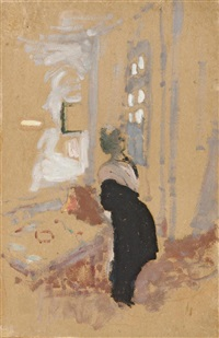 madame arthur fontaine en noir - étude by edouard vuillard