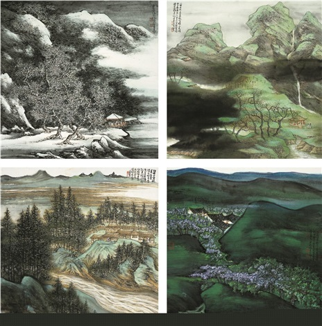 四时山水 landscape of four seasons by chen peiqiu