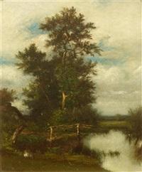 oak by a pond by jules dupré