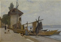 le port de tourronde (paysage de savoie) by francois-louis-david bocion