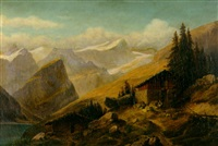 an alpine landscape with a goatherd and goats by a cabin in the foreground by hermann herdtle