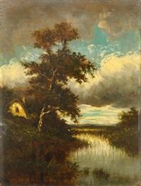 paysage à l'étang by jules dupré