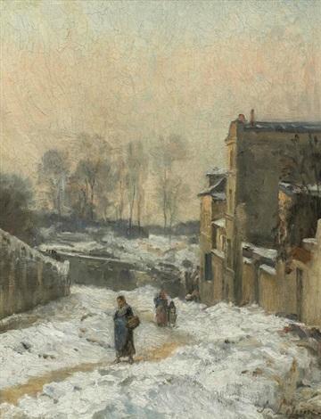 montmartre la rue cortot effet de neige by stanislas lépine