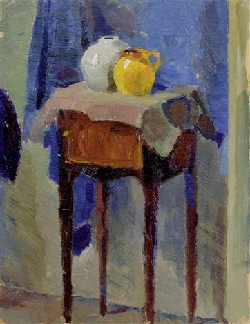 stillleben mit zwei vasen auf piedestal by lyonel feininger